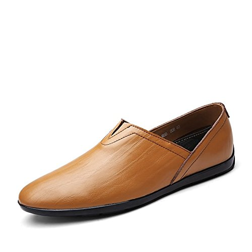 Dimensione Slip Leather uomo Brown EU Meimei Scarpe shoes Mocassini on Mocassini PU leggeri da minimaliste Fashion Yellow 36 Color aqHFxg