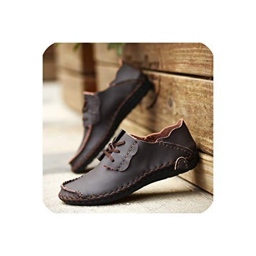Unframed Insert Panel - Comfortable Casual Shoes Loafers Men Shoes Quality Genuine Leather Shoes Men Flats Moccasins Shoes,DAR Rown,46 Dark Brown