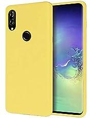 WJMWF Hoesje voor Xiaomi Redmi 9A Ultradunne Vloeibare Siliconen Gel Telefoonhoes [Screen Protector] Krasbestendig Shock Proof Anti-Vingerafdruk Beschermhoes-Geel