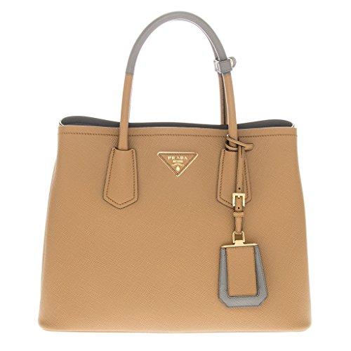 Prada Women's Saffiano Cuir Medium Double Bag Caramel
