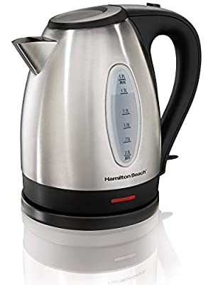 Hamilton Beach 40885 Stainless Steel Electric Kettle, 1.7-Liter, Red