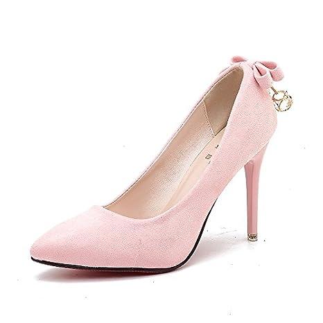 yalanshop Zapatos de tacón alto para niña fina con la punta de un solo  zapato ligero 950368f339f4e