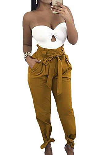 High Per Women Alla Waist Moda Donna Fashion Pantaloni Sciolto Eleganti Lunghi Giovane Primaverile Libero Autunno Solidi Inclusa Tempo Giallo Harem Grazioso Colori Cintura pgWF1WTI
