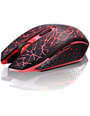 TENMOS K6 Wireless Gaming Mouse, Rechargeable Silent LED Optical Computer Mice with USB Receiver, Compatible Laptop/PC/Notebook (Red Light)
