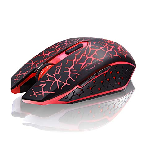 (TENMOS K6 Wireless Gaming Mouse, Rechargeable Silent LED Optical Computer Mice with USB Receiver, 3 Adjustable DPI Level and 6 Buttons, Auto Sleeping Compatible Laptop/PC/Notebook (Red Light))