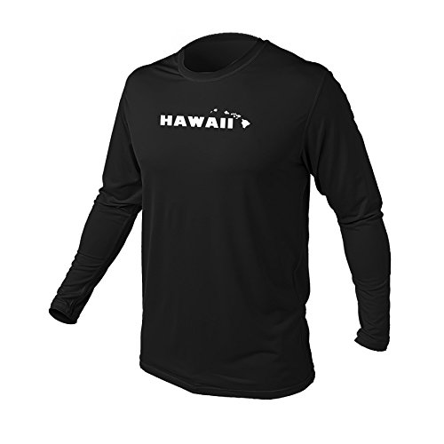 Maui Clothing Fuse Solid Hawaii Print Rash Guard Longsleeve (Black, - Maui Wailea Hi