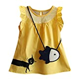 Baby Sleeveless Vest Skirt, Infant Kid Summer Cute Ruffle Cartoon Fish Bag+Cat Casual Princess Dress,1-6years (18-24 Months, Yellow)