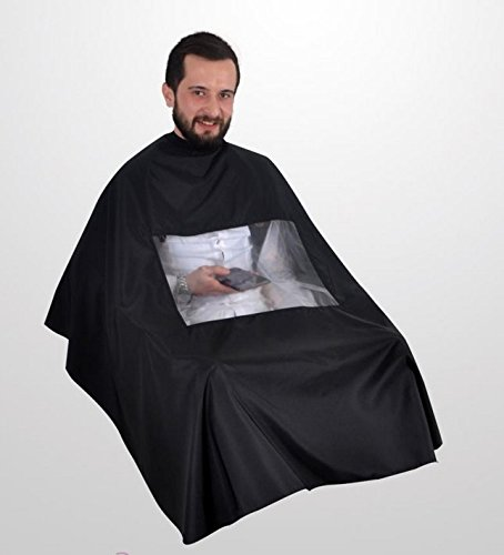 BARBER HAIRDRESSER GOWN CAPE WITH WINDOW TO PLAY WITH MOBILE PHONE OR READ NEWSPAPER MAGAZINE DINCER