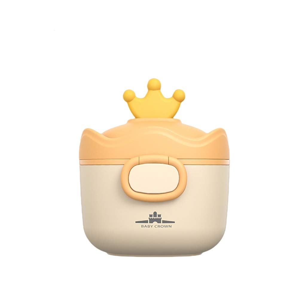 Le Ning Portable Formula Milk Powder Box with Spoon, BPA-Free Milk Powder Container, Baby Food, Candy Fruit Box, Snack Container, Sealed and Moisture-Proof for Infant Travel (Yellow)