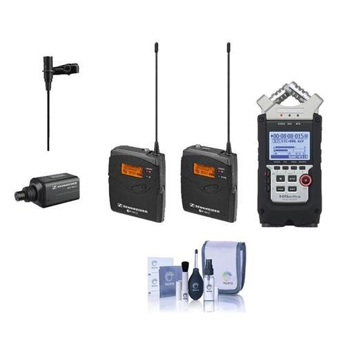 Sennheiser ew 100-ENG G3-A Wireless Mic System with EK 100 G3 Diversity Receiver - Frequency Band A (Frequency Range: 516-558MHz), Zoom H4n Pro Handy Mobile 4-Track Recorder, Cleaning Kit by Sennheiser