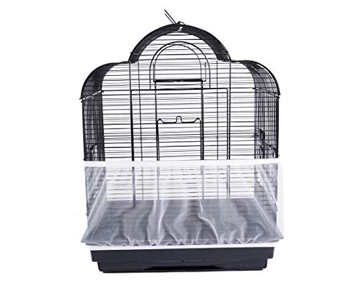 ZARYIEEO Mesh Bird Seed Catcher, Birds Cage Net Cover, Stretchy Shell Soft Nylon Skirt with Adjustable Drawstring