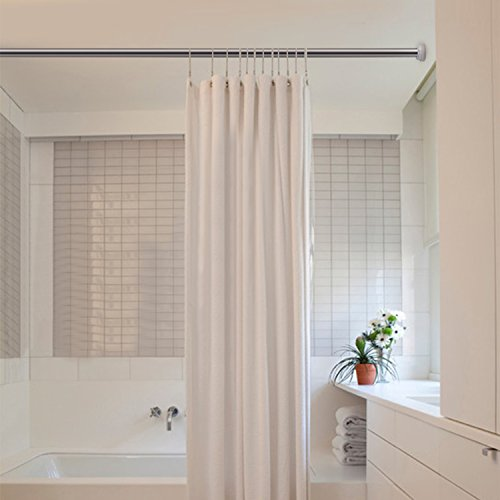 KOP Tension Rod 『35-63Inch Adjustable Curtain Shower Rod Extendable Stainless Steel Seamless Spring Window Closet Rod for Bathroom Shower