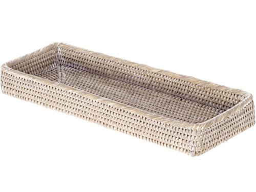 Kouboo, La Jolla Handwoven Elongated Rattan Vanity Tray, White Wash