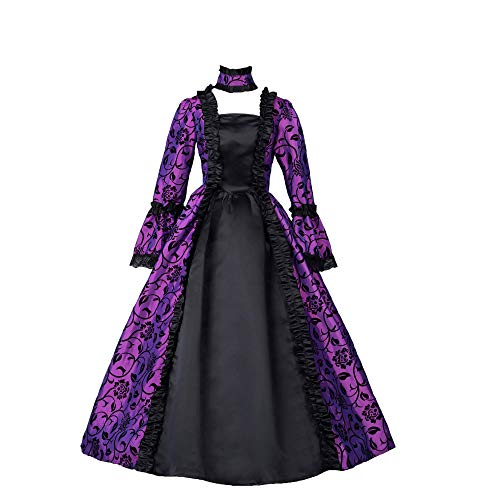 CountryWomen Renaissance Gothic Dark Queen Dress Ball Gown Steampunk Vampire Halloween Costume (S, Image Color)]()