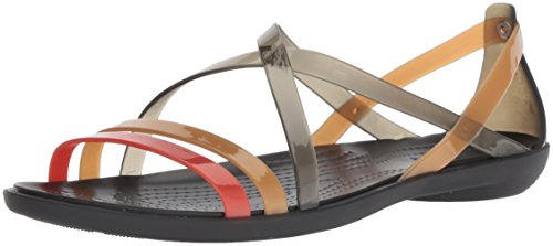 Crocs Women's Drew Barrymore Isabella Strappy Sandal Flat, Black/Gold, 5 M US