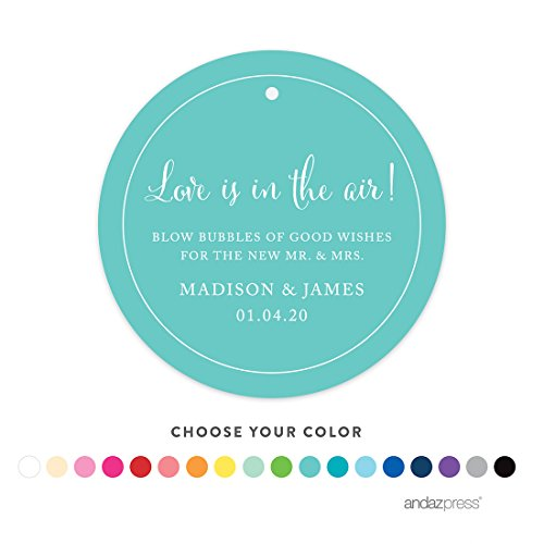 Andaz Press Personalized Wedding Bubbles Favor Gift Tags, Circle, 24-Pack - Custom Made Any Name by Andaz Press