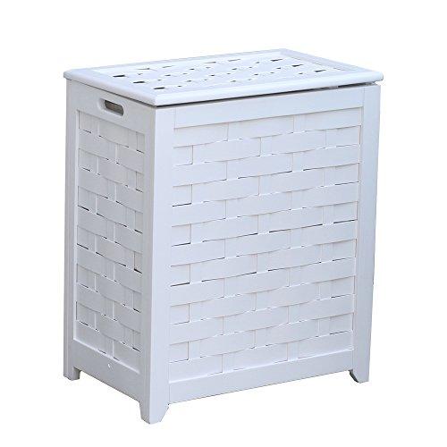(Oceanstar RHV0103W Rectangular Veneer Laundry Wood Hamper, White Finished)