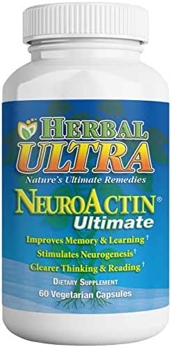NeuroActin - Memory Vitamins, Elderly Brain Function Supplement for Healthy Brain Focus, Energy, Memory, and Mood Functions - Herbal Ultra (60 Count)