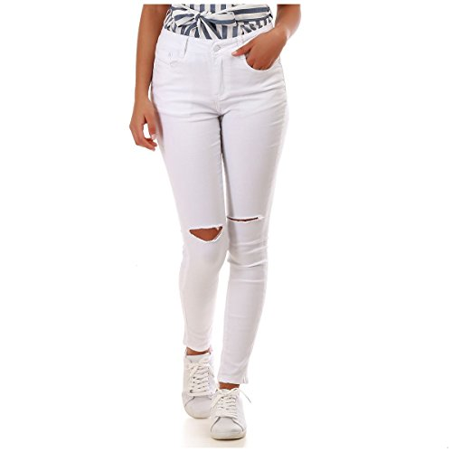 Blanc Slim La Genoux aux dchir Jeans Modeuse P88qwHY