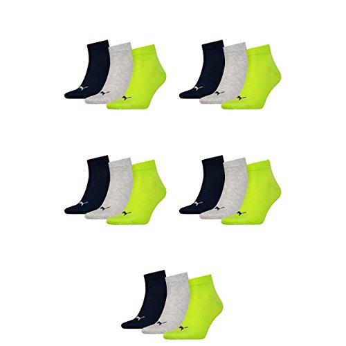 15 pair Puma Sneaker Quarter Socks Unisex Mens & Ladies 064 - lime punch