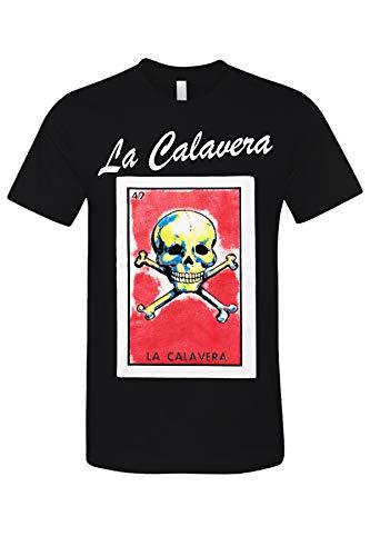 La Calavera Loteria Mexican Bingo Arts Printed Funny Adult Graphic T-Shirt Black Small]()