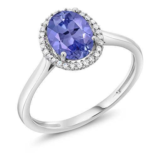 White Gold Jewelry Ring Tanzanite (10K White Gold Diamond Halo Engagement Ring set with Oval Blue Tanzanite Women's Ring (1.16 Cttw, Available in size 5, 6, 7, 8, 9))