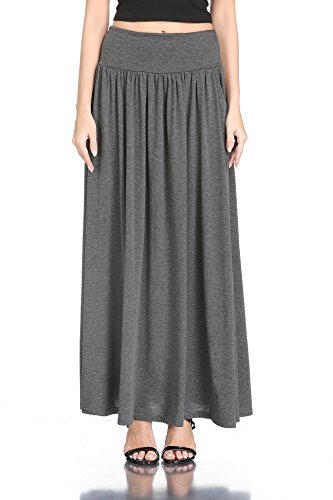 HIKA Women's High Waist Shirring Long Maxi Skirt with Pockets (Medium, Heather Grey)