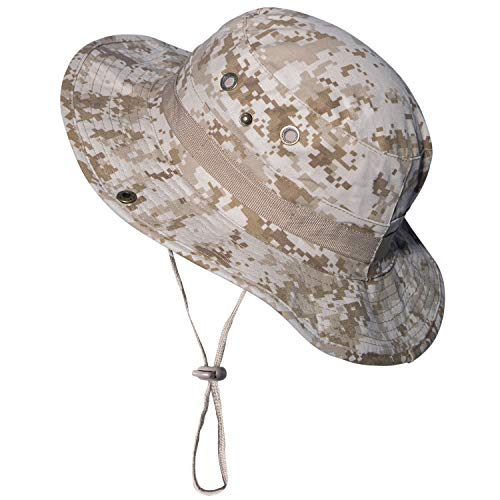 Military Camo Boonie Hat Cap Cotton Mens Fishing Bucket Safari Sun Hat with Adjustable Strap