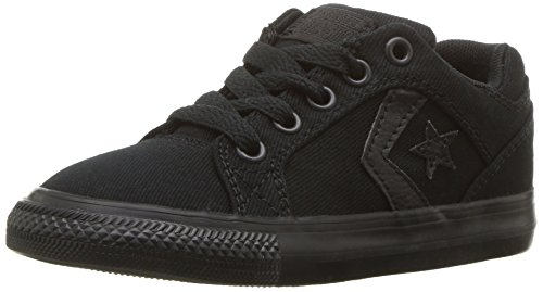 Converse Boys' EL Distrito Twill Low Top Sneaker, Black/Black/Black, 10 M US Toddler (Converse Toddler Shoes)