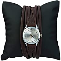 Ladies Waterproof Leather Wrist Watch for Women - Female Vintage Brown Band Silver Dial