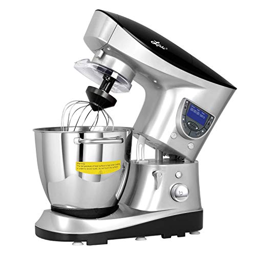 Litchi 7.4 Quart Cooking Stand Mixer with Meat Grinder, Blender, Sausage Stuffer, LCD Control Panel, Stainless Steel Cooking Bowl, Silver