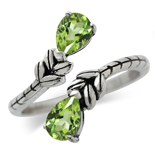 1.62ct. Natural Peridot 925 Sterling Silver Bypass Leaf Adjustable Ring Size 7