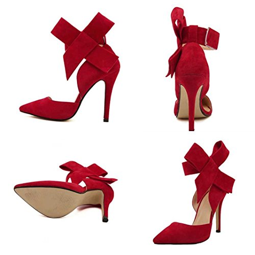 huichang Women Pumps with A Big Bow Bow Tie with Sharp Toe Stilettos Plus Size Shoes Red rQTBhXL
