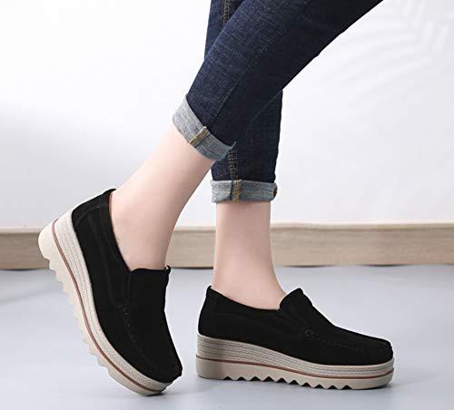 Zapatos Algodón Ante Cálido Terciopelo Comodidad Liangxie Negro Plataforma Con Mocasines Baja Cintura Y Mujer Cuña Ancha Vaca De Piel BqwqT70xX