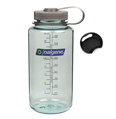 Bike A Mile Nalgene Tritan 32oz Wide Mouth BPA-Free Water Bottle Including A Removable SplashGuard (Seafoam w/Gray Cap, 32-Ounces)
