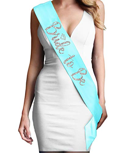 Bride Sash For the Bridal Shower - Bride To Be Diamond Silver Glitter Satin Sash - Bachelorette Party Supplies - Light Aqua Blue