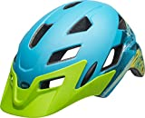 Bell Sidetrack Cycling Helmet - Kid's Gnarly Matte Bright Blue/Bright Green 47-54cm