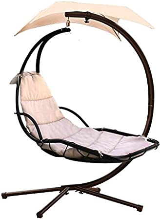 Amazon Com Hanging Chaise Lounger Chair Arc Stand Air Porch Swing Hammock Dream Chair With Canopy Beige Garden Outdoor