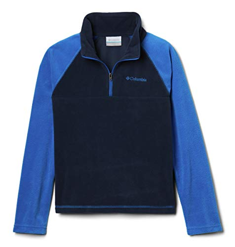 Boys Puff Jacket - Columbia Boys' Big Glacial Half Zip, Collegiate Navy/Super Blue, Small