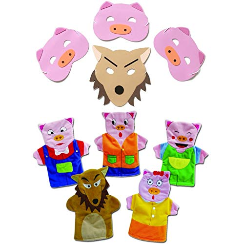 Blue Frog Toys 3 Little Pigs Mask and Hand Puppet Set - Bedtime - Story Time - Nursery Rhyme