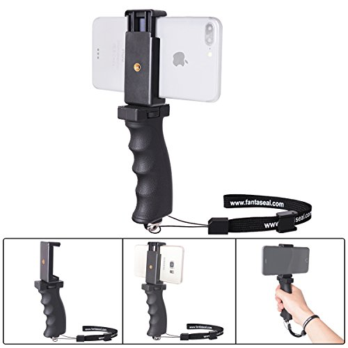 fantaseal Ergonomic Cell Phone Smartphone Holder, Phone Selfie Stick Hand Grip Stabilizer Handheld Mount Phone Handle Support Steadycam Compatible with iPhone Xs X Nexus LG HTC Huawei Samsung etc