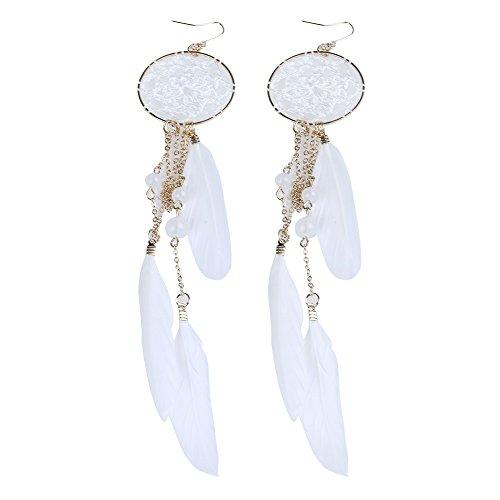 Hunputa New Bohemia Feather Beads Long Design Dream Catcher Earrings for Women Jewelry (White) ()