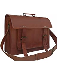 DHK 18 Inch Vintage Handmade Leather Messenger Bag Laptop Briefcase Computer Satchel bag For Men