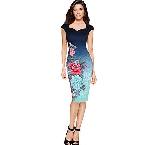 Cadera Del Paquete De La Impresión Del Vestido Del Lápiz Del Verano Señora De Varios Tamaños,Multi-colored-XXL