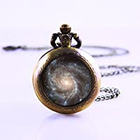 Spiral Galaxy Necklace Outer Space Milky Way Astronomy Nebula Art Galaxy Glass Pendant Pocket Watch , Galaxy Charm Pocket Watch , Solar System Pendant Pocket Watch ,Galaxy Necklace,galaxy Jewelry Pocket Watch