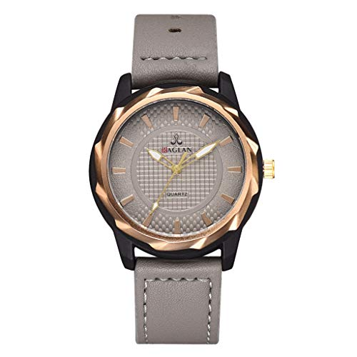 COOKI Men's Watch Fashion Business Wristwatch Analog Quartz Watch Round Dial Simple Design Leather Band Watches for Men