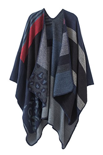 Urban CoCo Women's Color Block Open front Blanket Poncho (royal blue-series 2)