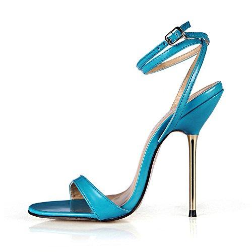 l'été amende avec talon Blue avec Sandales à haut simple les femme de l'acier PU show chaussures de qwXBt