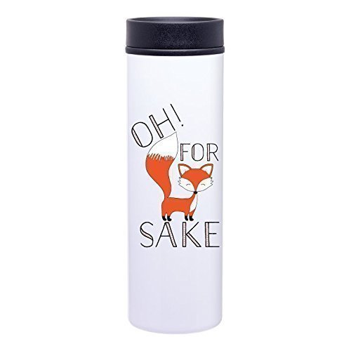Oh For Fox Sake 16oz Stainless Steel Travel Tumbler – Funny Coffee Mug – Fox and Clover Original