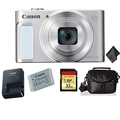 Canon PowerShot SX620 HS Digital Camera (Silver) Bundle with 32 GB Memory Card + Carrying Case and More -International…